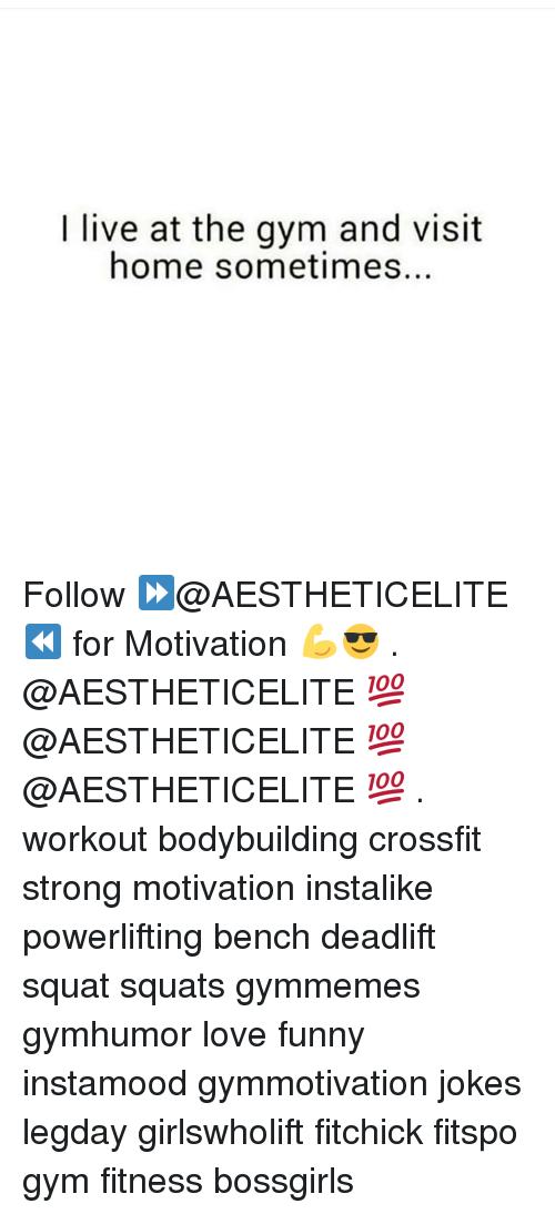Gym, Crossfit, and Squat: live at the gym and visit  home sometimes Follow ⏩@AESTHETICELITE ⏪ for Motivation 💪😎 . @AESTHETICELITE 💯 @AESTHETICELITE 💯 @AESTHETICELITE 💯 . workout bodybuilding crossfit strong motivation instalike powerlifting bench deadlift squat squats gymmemes gymhumor love funny instamood gymmotivation jokes legday girlswholift fitchick fitspo gym fitness bossgirls
