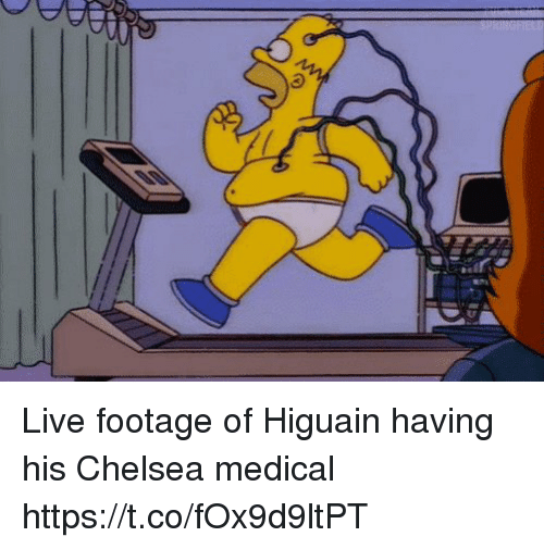higuain: Live footage of Higuain having his Chelsea medical https://t.co/fOx9d9ltPT