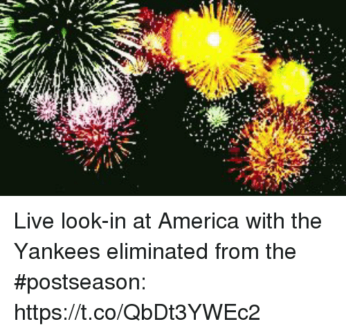 America, Sports, and New York Yankees: Live look-in at America with the Yankees eliminated from the #postseason: https://t.co/QbDt3YWEc2