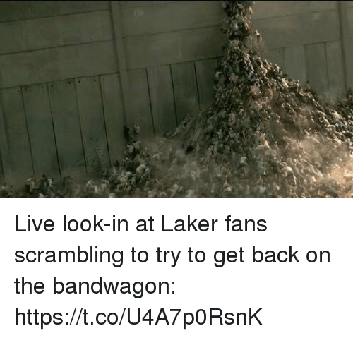 Sports, Live, and Back: Live look-in at Laker fans scrambling to try to get back on the bandwagon: https://t.co/U4A7p0RsnK