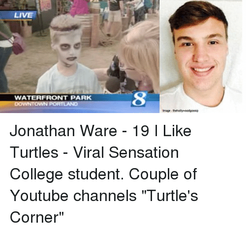 """Like Turtles: LIVE  WATERFRONT PARK  DOWNTOWN PORTLAND  Image thehollywoodgossip Jonathan Ware - 19 I Like Turtles - Viral Sensation College student. Couple of Youtube channels """"Turtle's Corner"""""""