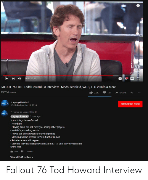 LIVE #YOuB CC 11051353 FALOUT 76 FULL Todd Howard E3 Interview
