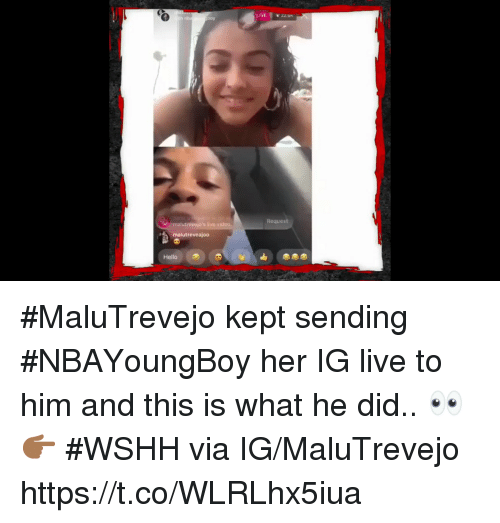 Hello, Wshh, and Live: LIVE zz on  boy  Request  trevejo's live v  malutreveajodo  Hello #MaluTrevejo kept sending #NBAYoungBoy her IG live to him and this is what he did.. 👀👉🏾 #WSHH via IG/MaluTrevejo https://t.co/WLRLhx5iua