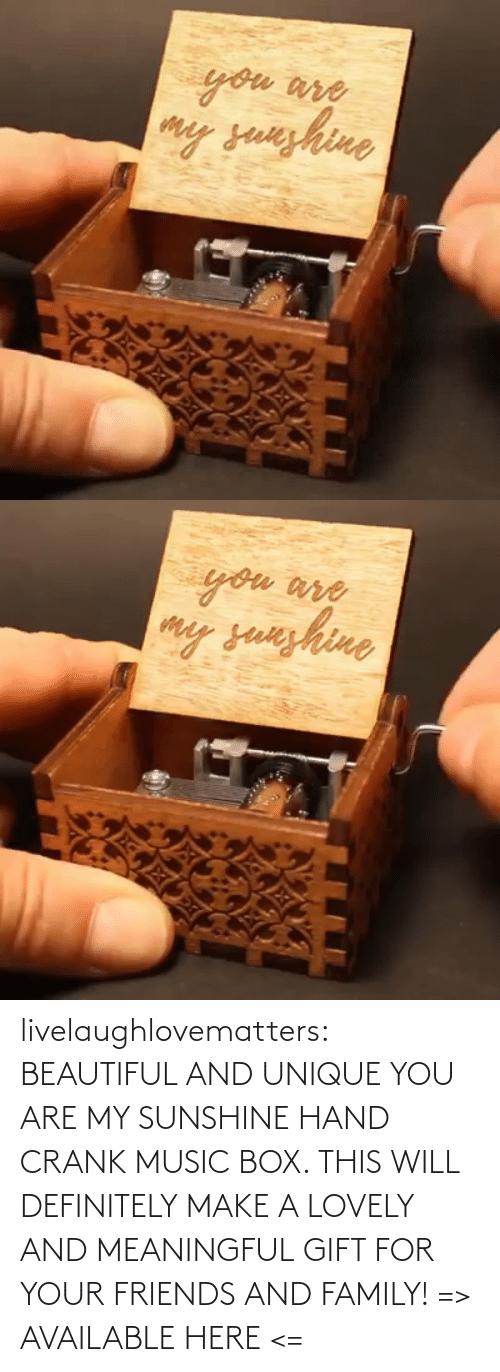 Will Definitely: livelaughlovematters:  BEAUTIFUL AND UNIQUE YOU ARE MY SUNSHINE HAND CRANK MUSIC BOX. THIS WILL DEFINITELY MAKE A LOVELY AND MEANINGFUL GIFT FOR YOUR FRIENDS AND FAMILY! => AVAILABLE HERE <=