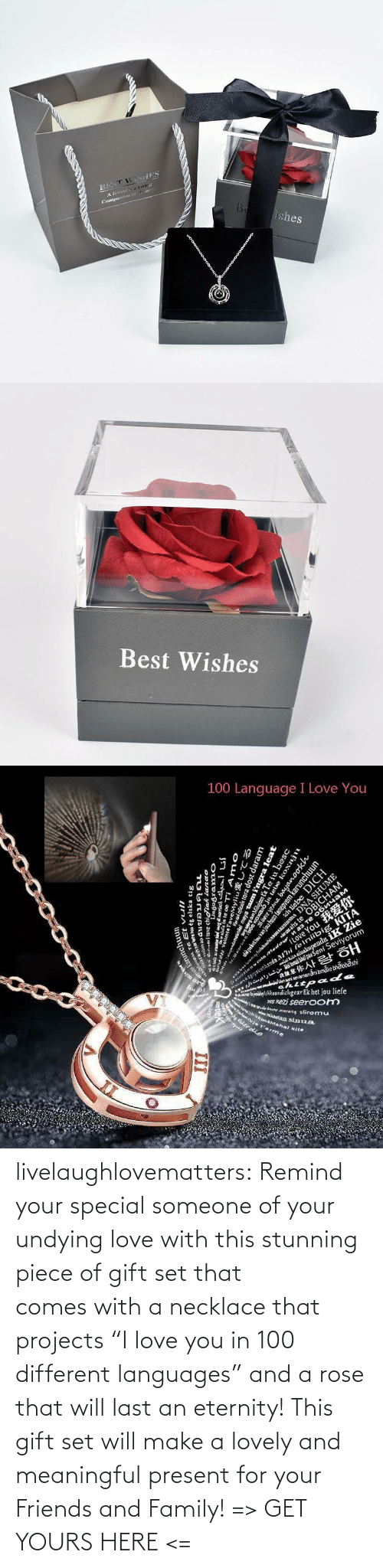 "Friends And Family: livelaughlovematters:  Remind your special someone of your undying love with this stunning piece of gift set that comes with a necklace that projects ""I love you in 100 different languages"" and a rose that will last an eternity! This gift set will make a lovely and meaningful present for your Friends and Family! => GET YOURS HERE <="