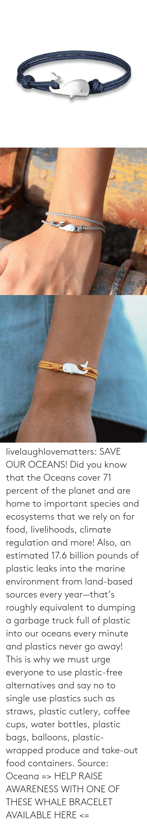 Save: livelaughlovematters: SAVE OUR OCEANS!  Did you know that the Oceans cover 71 percent of the planet and are home to important species and ecosystems that we rely on for food, livelihoods, climate regulation and more! Also, an estimated 17.6 billion pounds of plastic leaks into the marine environment from land-based sources every year—that's roughly equivalent to dumping a garbage truck full of plastic into our oceans every minute and plastics never go away! This is why we must urge everyone to use plastic-free alternatives and say no to single use plastics such as straws, plastic cutlery, coffee cups, water bottles, plastic bags, balloons, plastic-wrapped produce and take-out food containers. Source: Oceana => HELP RAISE AWARENESS WITH ONE OF THESE WHALE BRACELET AVAILABLE HERE <=