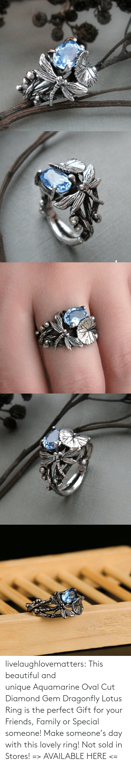 Lotus: livelaughlovematters: This beautiful and unique Aquamarine Oval Cut Diamond Gem Dragonfly Lotus Ring is the perfect Gift for your Friends, Family or Special someone! Make someone's day with this lovely ring! Not sold in Stores! => AVAILABLE HERE <=