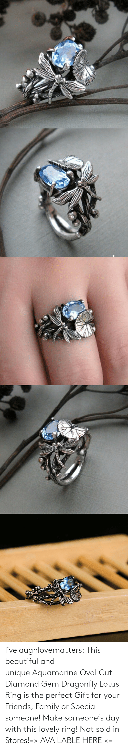 Lotus: livelaughlovematters:  This beautiful and unique Aquamarine Oval Cut Diamond Gem Dragonfly Lotus Ring is the perfect Gift for your Friends, Family or Special someone! Make someone's day with this lovely ring! Not sold in Stores!=> AVAILABLE HERE <=
