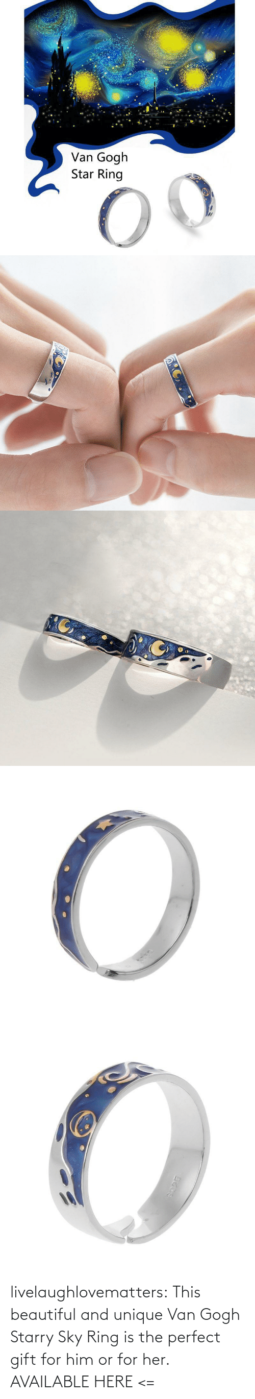 For Him: livelaughlovematters:  This beautiful and unique Van Gogh Starry Sky Ring is the perfect gift for him or for her. AVAILABLE HERE <=