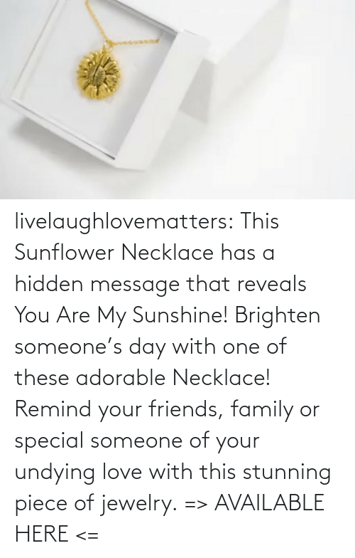 message: livelaughlovematters:  This Sunflower Necklace has a hidden message that reveals You Are My Sunshine! Brighten someone's day with one of these adorable Necklace! Remind your friends, family or special someone of your undying love with this stunning piece of jewelry. => AVAILABLE HERE <=