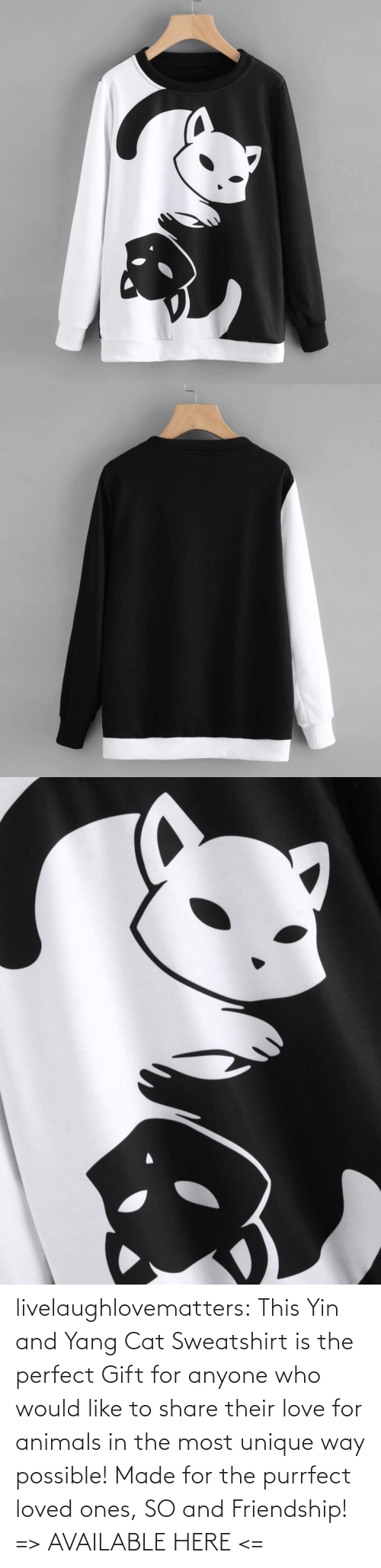 Perfect Gift: livelaughlovematters: This Yin and Yang Cat Sweatshirt is the perfect Gift for anyone who would like to share their love for animals in the most unique way possible! Made for the purrfect loved ones, SO and Friendship!  => AVAILABLE HERE <=