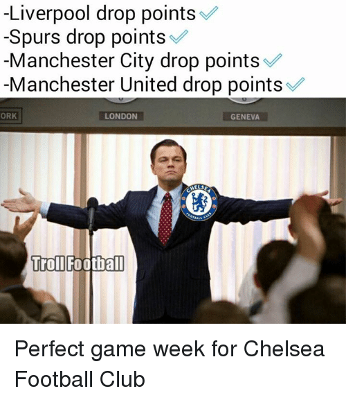 orks: Liverpool drop points  Spurs drop points  Manchester City drop points  Manchester United drop points  LONDON  ORK  GENEVA  HELSE  Troll  Football Perfect game week for Chelsea Football Club