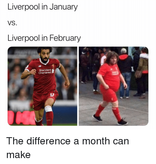 Soccer, Sports, and Liverpool F.C.: Liverpool in January  VS.  Liverpool in February  Standard  Chartered  LEC The difference a month can make