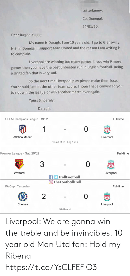 Old: Liverpool: We are gonna win the treble and be invincibles.  10 year old Man Utd fan: Hold my Ribena https://t.co/YsCLFEFIO3