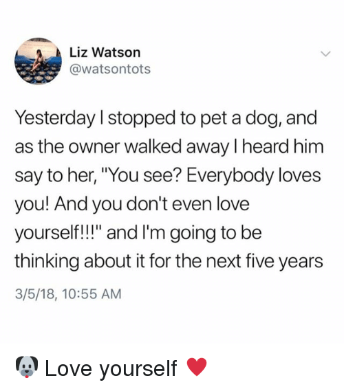 """Love, Memes, and 🤖: Liz Watson  @watsontots  Yesterday I stopped to pet a dog, and  as the owner walked away I heard him  say to her, """"You see? Everybody loves  you! And you don't even love  yoursef!l"""" and I'm going to be  thinking about it for the next five years  3/5/18, 10:55 AM 🐶 Love yourself ♥️"""