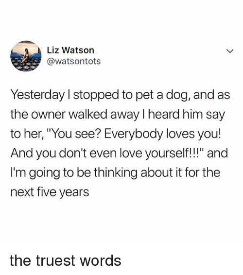 "Love, Relatable, and Her: Liz Watson  @watsontots  Yesterday l stopped to pet a dog, and as  the owner walked away I heard him say  to her, ""You see? Everybody loves you!  And you don't even love yourself!!"" and  I'm going to be thinking about it for the  next five years the truest words"