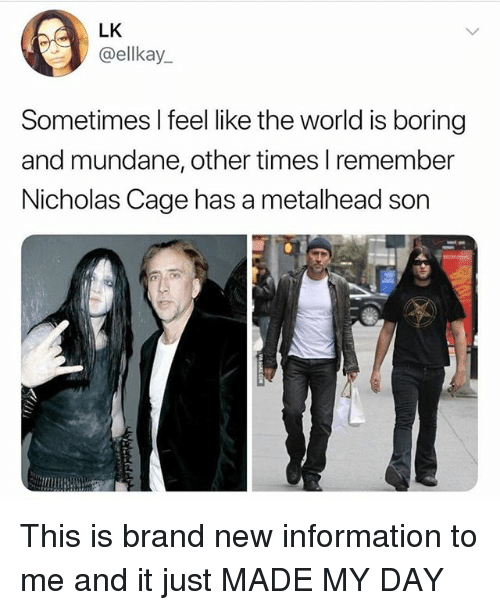 nicholas cage: LK  ellkay.  Sometimes I feel like the world is boring  and mundane, other times lremember  Nicholas Cage has a metalhead son This is brand new information to me and it just MADE MY DAY