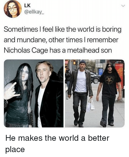 nicholas cage: LK  @ellkay  Sometimes I feel like the world is boring  and mundane, other times I remember  Nicholas Cage has a metalhead son He makes the world a better place