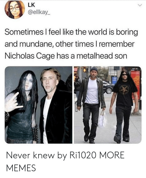 nicholas cage: LK  @ellkay  Sometimes I feel like the world is boring  and mundane, other times I remember  Nicholas Cage has a metalhead son  守 Never knew by Ri1020 MORE MEMES