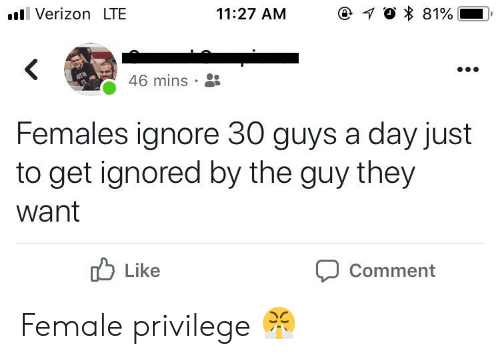 Female Privilege: ll Verizon LTE  11:27 AM  46 mins .  Females ignore 30 guys a day just  to get ignored by the guy they  want  Like  Comment Female privilege 😤