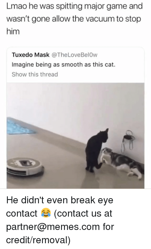 Dank, Lmao, and Memes: Lmao he was spitting major game and  wasn't gone allow the vacuum to stop  him  Tuxedo Mask @TheLoveBelOw  Imagine being as smooth as this cat.  Show this thread He didn't even break eye contact 😂   (contact us at partner@memes.com for credit/removal)