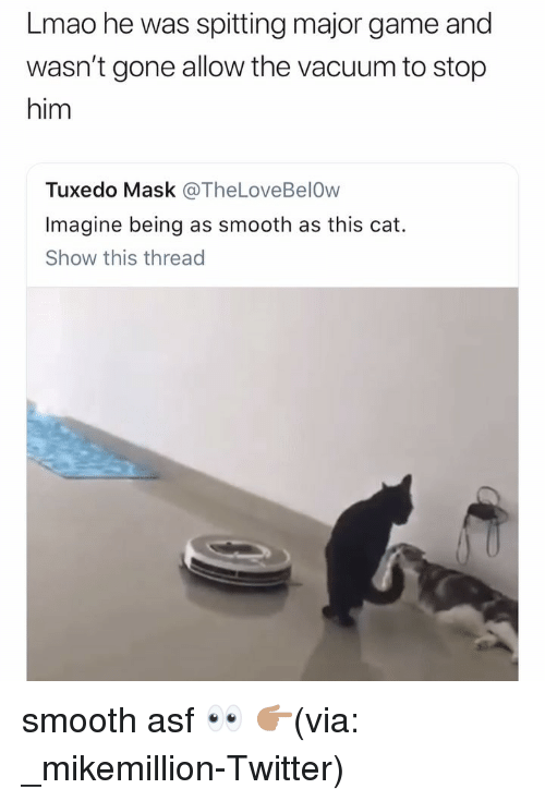 Funny, Lmao, and Smooth: Lmao he was spitting major game and  wasn't gone allow the vacuum to stop  him  Tuxedo Mask @TheLoveBelOw  Imagine being as smooth as this cat.  Show this thread smooth asf 👀 👉🏽(via: _mikemillion-Twitter)