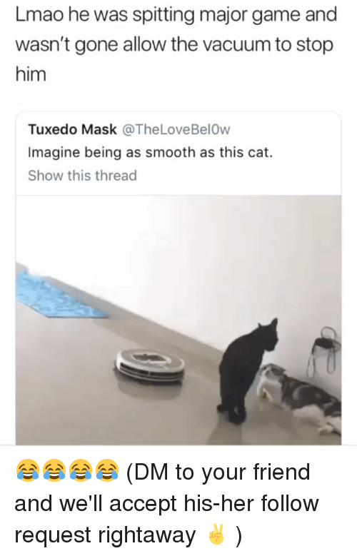 Lmao, Memes, and Smooth: Lmao he was spitting major game and  wasn't gone allow the vacuum to stop  him  Tuxedo Mask @TheLoveBelOw  Imagine being as smooth as this cat.  Show this thread 😂😂😂😂 (DM to your friend and we'll accept his-her follow request rightaway ✌ )