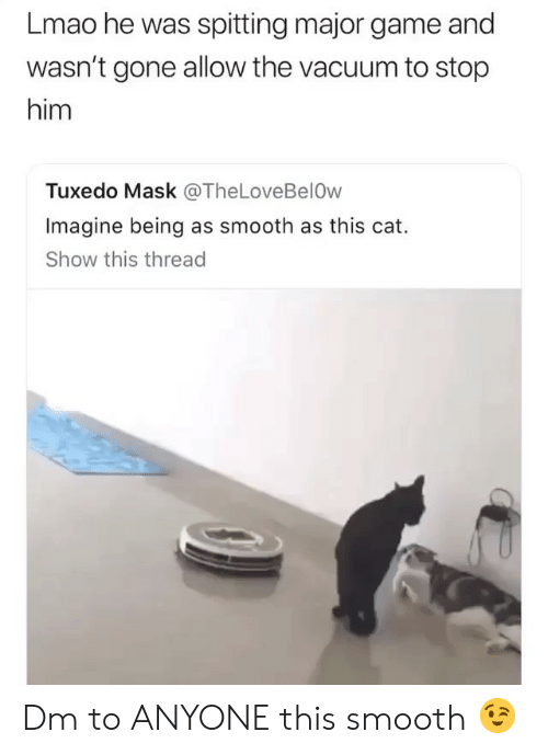 Lmao, Memes, and Smooth: Lmao he was spitting major game and  wasn't gone allow the vacuum to stop  him  Tuxedo Mask @TheLoveBelOw  Imagine being as smooth as this cat.  Show this thread Dm to ANYONE this smooth 😉