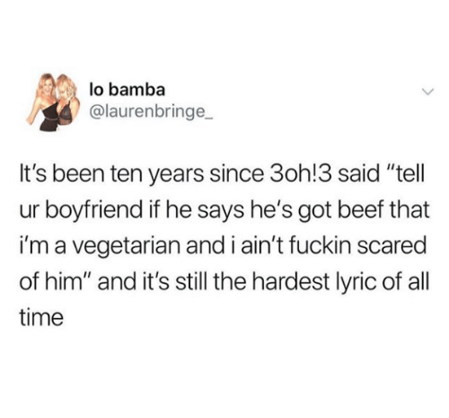 "Beef, Time, and Vegetarian: lo bamba  @laurenbringe  It's been ten years since 3oh!3 said ""tell  ur boyfriend if he says he's got beef that  i'm a vegetarian and i ain't fuckin scared  of him"" and it's still the hardest lyric of all  time"