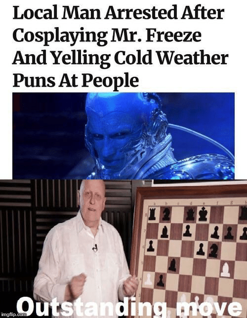 Puns, Weather, and Cold: Local Man Arrested After  Cosplaying Mr. Freeze  And Yelling Cold Weather  Puns At People  Outstanding ve  imgflip.co