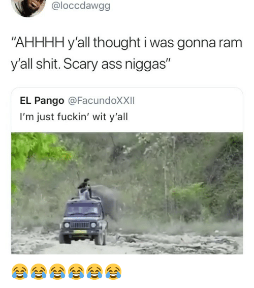 """Ass, Shit, and Girl Memes: @loccdawgg  """"AHHHH y'all thought i was gonna ram  y'all shit. Scary ass niggas  I1  EL Pango @FacundoXXII  I'm just fuckin' wit y'all 😂😂😂😂😂😂"""