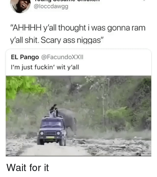"""Ass, Memes, and Shit: @loccdawgg  """"AHHHH y'all thought i was gonna ram  y'all shit. Scary ass niggas""""  EL Pango @FacundoXXII  I'm just fuckin' wit y'all Wait for it"""