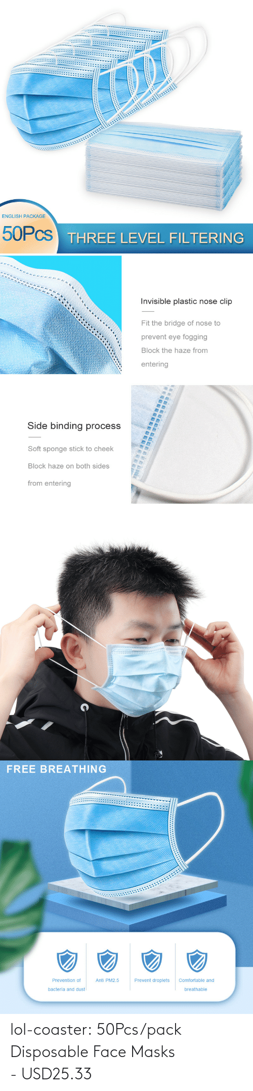 Anti: lol-coaster:  50Pcs/pack Disposable Face Masks - USD25.33