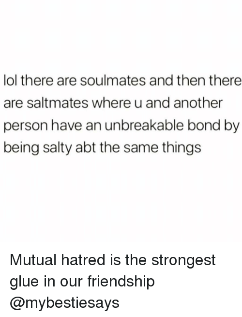 Lol, Being Salty, and Girl Memes: lol there are soulmates and then there  are saltmates where u and another  person have an unbreakable bond by  being salty abt the same things Mutual hatred is the strongest glue in our friendship @mybestiesays