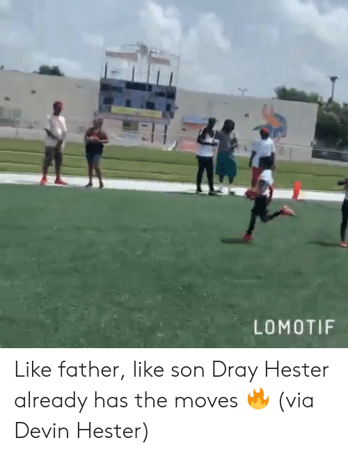Devin: LOMOTIF Like father, like son  Dray Hester already has the moves 🔥 (via Devin Hester)