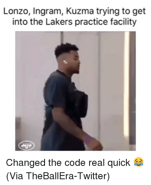 ingram: Lonzo, Ingram, Kuzma trying to get  into the Lakers practice facility Changed the code real quick 😂 (Via ‪TheBallEra‬-Twitter)