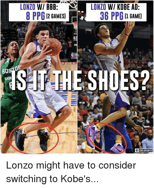 Bbb, Memes, and Game: LONZO W/ BBB:  LONZO W/ KOBE AD  8 PPG 12 GAMES  36 PPG a GAME)  (2 GAMES]  B0 Lonzo might have to consider switching to Kobe's...