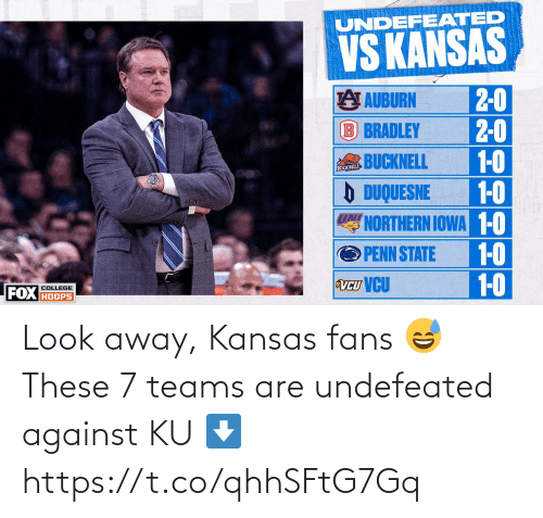 Against: Look away, Kansas fans 😅  These 7 teams are undefeated against KU ⬇️ https://t.co/qhhSFtG7Gq