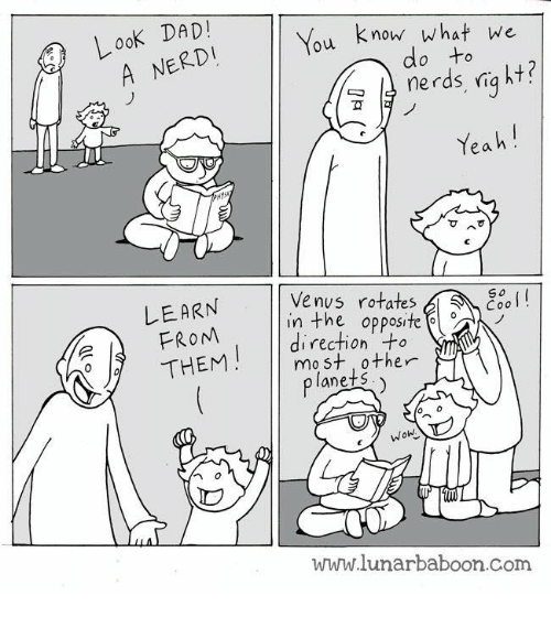 Look Dad: Look DAD!  ERD  know what we  u  nerds ria ht?  Yeah  Venus rotates,  LEARN  FROM  THEM  So  Cool!  in the opposite  direction +  mo st other  anets  www.lunarbaboon.com