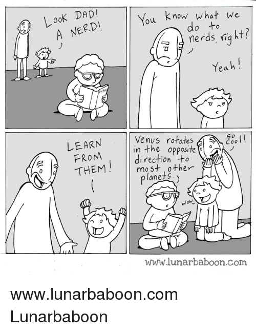 Look Dad: Look DAD!  You know what we  do ne rds right?  Yeah  LEARN  Venus rotates  Sa Eeo  in the opposite  AN  rection -to  THEM  most other  plane S  Wohl  www.lunarba boon com www.lunarbaboon.com  Lunarbaboon