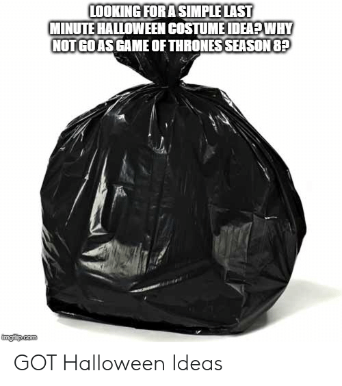 Halloween, Got, and Simple: LOOKING FOR A SIMPLE LAST  MINUTE HALLOWEEN COSTUMEIDEA?WHY  NOTGOASGAME OF THRONES SEASON 8?  imgilip.com GOT Halloween Ideas