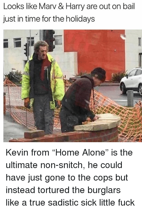 "Being Alone, Memes, and Snitch: Looks like Marv & Harry are out on bail  just in time for the holidays Kevin from ""Home Alone"" is the ultimate non-snitch, he could have just gone to the cops but instead tortured the burglars like a true sadistic sick little fuck"