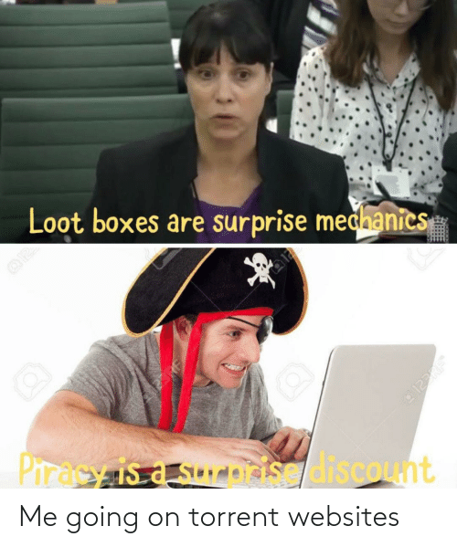 Torrent: Loot boxes are surprise medhanics  23RF  Piracy is a sureisis discount  123RF Me going on torrent websites