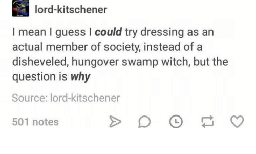 the question: lord-kitschener  I mean I guess I could try dressing as an  actual member of society, instead of a  disheveled, hungover swamp witch, but the  question is why  Source: lord-kitschener  L  501 notes