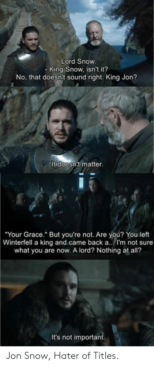 """Dank, Jon Snow, and Snow: Lord Snow  - King Snow, isn't it?  No, that doesn't sound right. King Jon?  It doesn't matter.  Your Grace."""" But you're not. Are you? You left  Winterfell a king and came back a.. I'm not sure  what you are now. A lord? Nothing at all?  It's not important Jon Snow, Hater of Titles."""