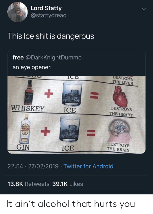Android, Shit, and Twitter: Lord Statty  @stattydread  his Ice shit is dangerous  free @DarkKnightDummo  an eye opener.  DESTROYS  THE LIVER  WHISKEY  ICE  DESTROYS  THE HEART  DESTROYS  THE BRAIN  GIN  ICE  22:54 27/02/2019 Twitter for Android  13.8K Retweets 39.1K Likes It ain't alcohol that hurts you