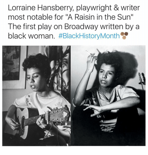 """Notability: Lorraine Hansberry, playwright & writer  most notable for """"A Raisin in the Sun""""  The first play on Broadway written by a  black woman"""