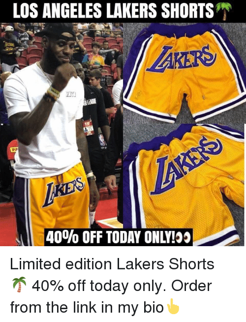 Basketball, Los Angeles Lakers, and Los-Angeles-Lakers: LOS ANGELES LAKERS SHORTS  -40% OFF TODAY ONLY! Limited edition Lakers Shorts 🌴 40% off today only. Order from the link in my bio👆