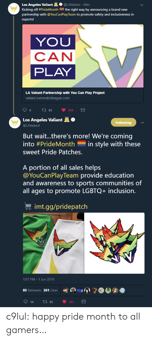 Gg, Sports, and Tumblr: Los Angeles Valiant@LAValiant 44m  Kicking off #PrideMonth the right way by announcing a brand new  partnership with @YouCanPlay Team to promote safety and inclusiveness in  esports!  YOU  CAN  PLAY  LA Valiant Partnership with You Can Play Project  valiant.overwatchleague.com   .  Los Angeles Valiant  @LAValiant  Following  But wait..there's more! We're coming  into #PrideMonth-in style with these  sweet Pride Patches.  A portion of all sales helps  @YouCanPlayTeam provide education  and awareness to sports communities of  all ages to promote LGBTQ+ inclusion.  본 imt.gg/pridepatch  1:07 PM-1 Jun 2018  85 Retweets 261 Likes  e  》  914 th 85 261 c9lul: happy pride month to all gamers…