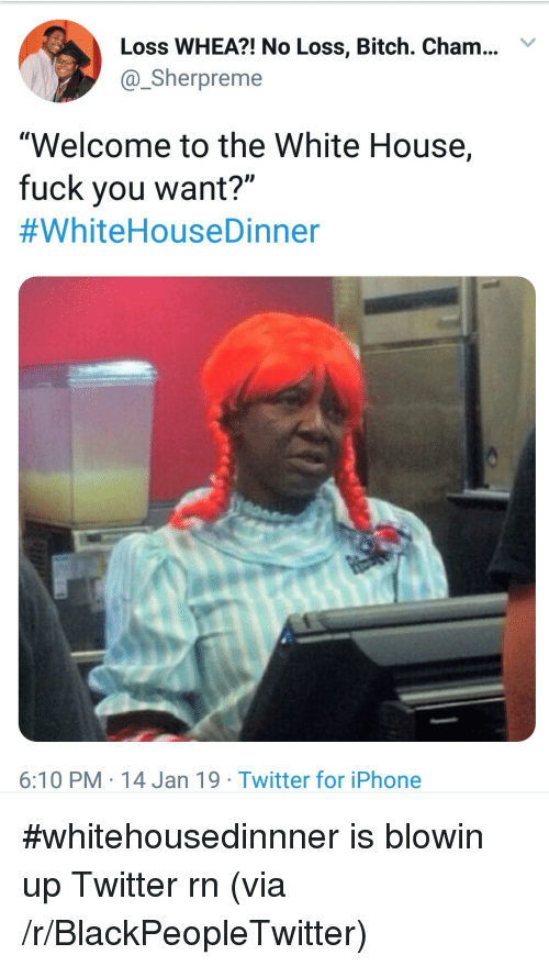 "Bitch, Blackpeopletwitter, and Fuck You: Loss WHEA?! No Loss, Bitch. Cham..Y  @Sherpreme  ""Welcome to the White House,  fuck you want?""  #WhiteHouseDinner  6:10 PM 14 Jan 19 Twitter for iPhone #whitehousedinnner is blowin up Twitter rn (via /r/BlackPeopleTwitter)"